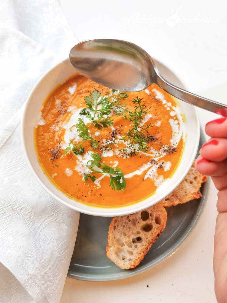 soupe-carottes-coco-7 - Velouté de carottes et patates douces à la citronnelle et au lait de coco