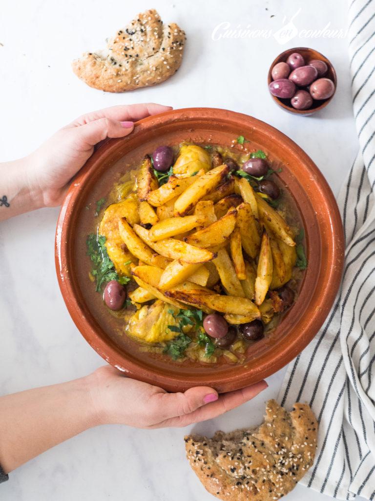 tajine-mqualli-768x1024 - Tajine de poulet mqualli aux olives et citron confit