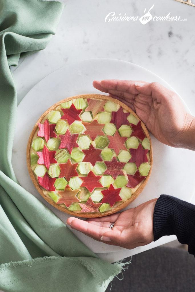 tarte-Zellig-a-la-rhubarbe-12-683x1024 - Tarte à la rhubarbe, motif Zellig