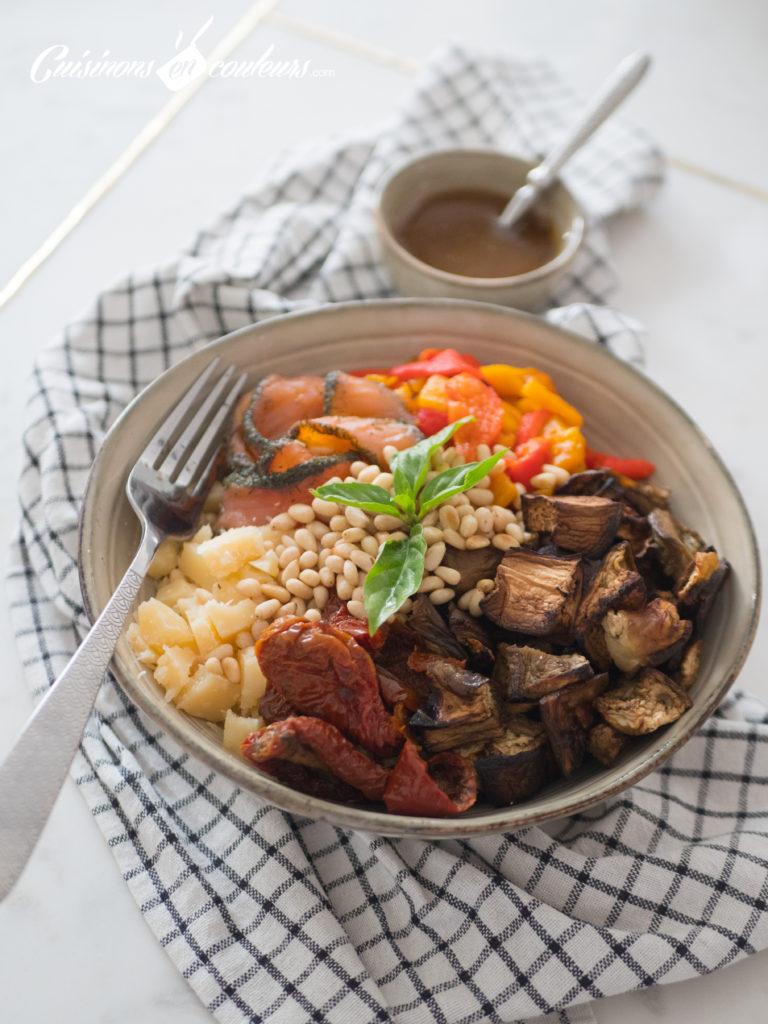 Salade-composee-Salad-bowl-2-768x1024 - Salad Bowl au saumon, aubergines rôties... et plein d'autres choses !