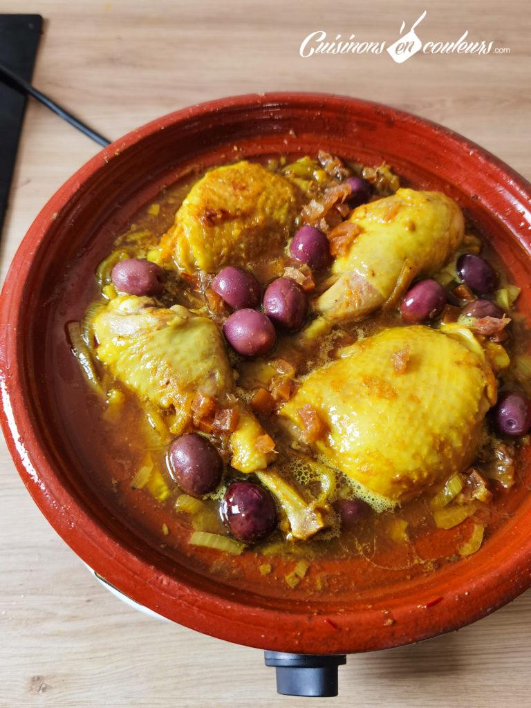 tajine-poulet-frites-11-768x1024 - Tajine de poulet mqualli aux olives et citron confit